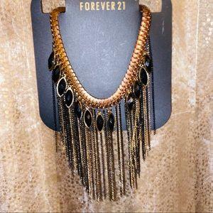 vintage statement necklace, gold & black detail